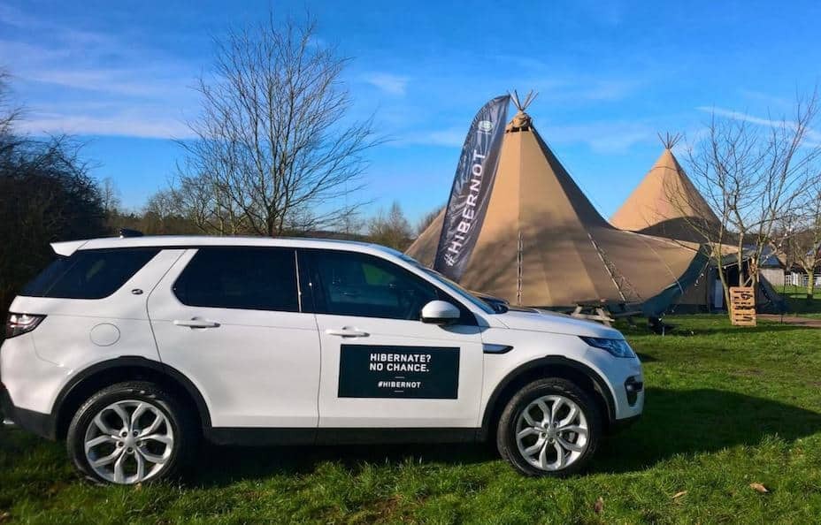 Tipi Hire for Corporate Events. Image from Land Rovers Hibernot event