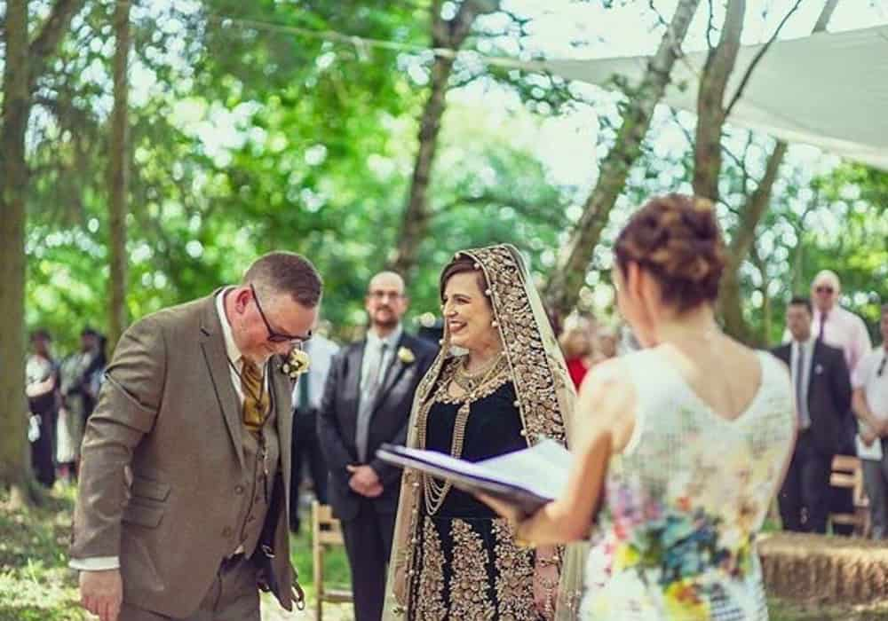 Becks and Andy's Lion King inspired outdoor wedding cermony