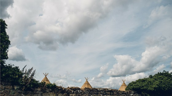 Image by Matt Brown Three giant hat tipis