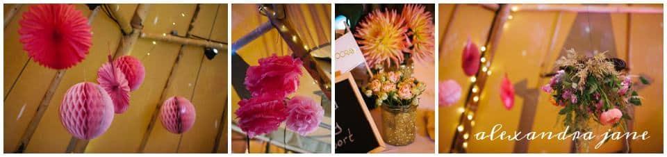 Pink Hanging Tipi Decorations - Sami Tipi Wedding