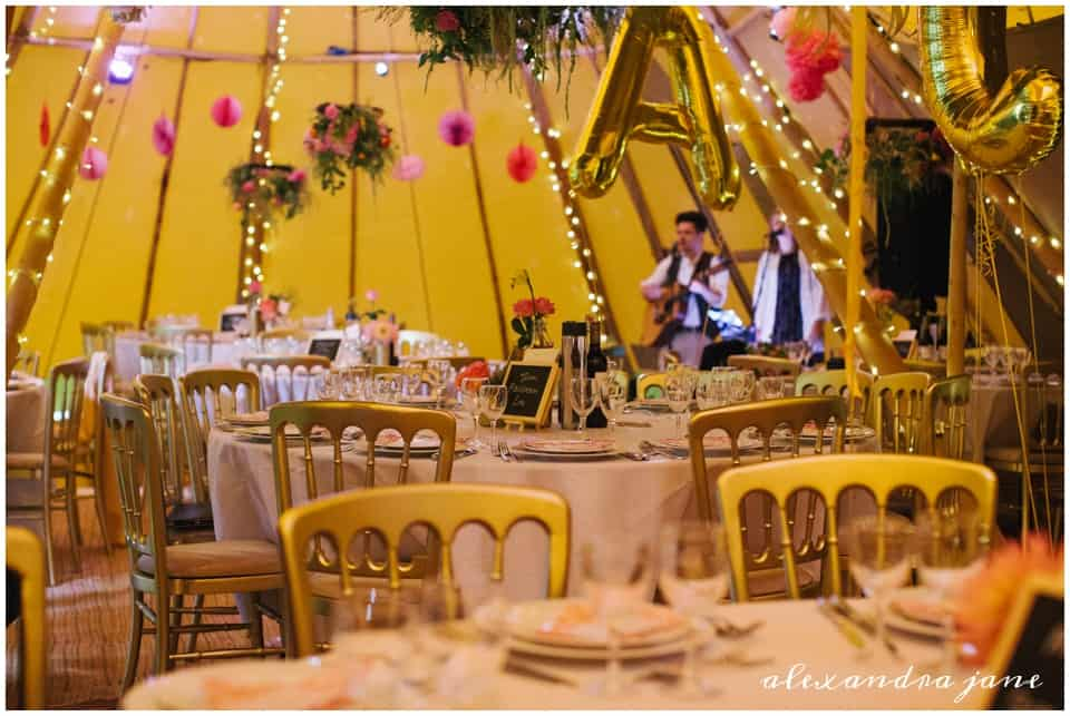 Sami Tipi with Round Tables and hanging decorations