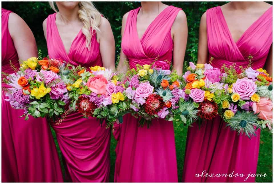 Bridesmaids burst of colour