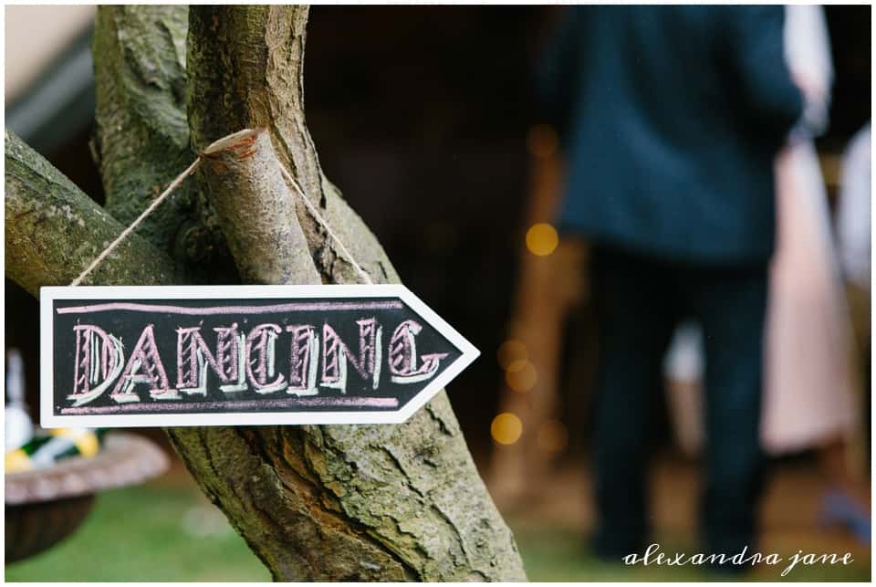 Rustic Wedding Dancing Sign to the tipis
