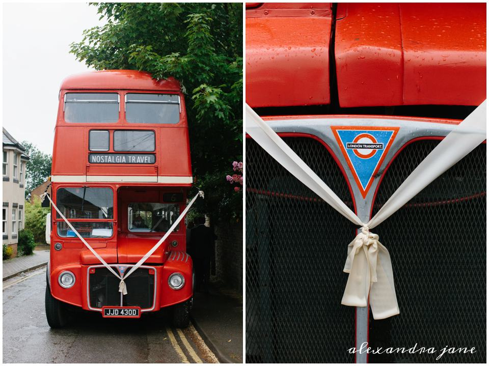 Big red bus wedding transportation