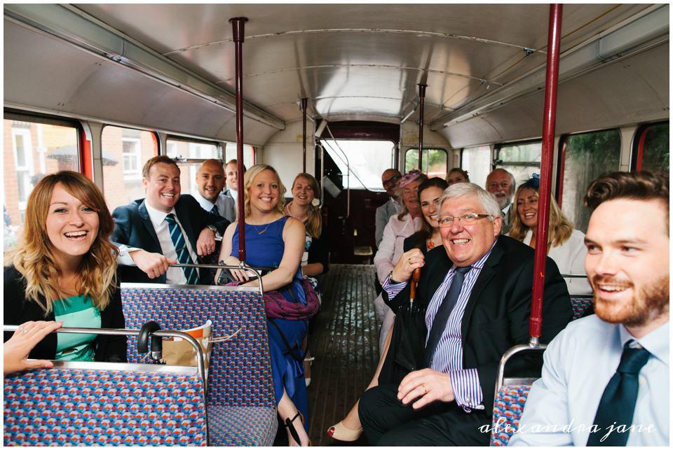 Vintage bus wedding transportation guests arriving