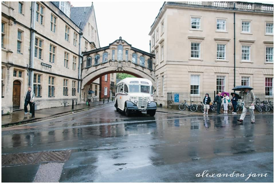 Vintage bus wedding transportation