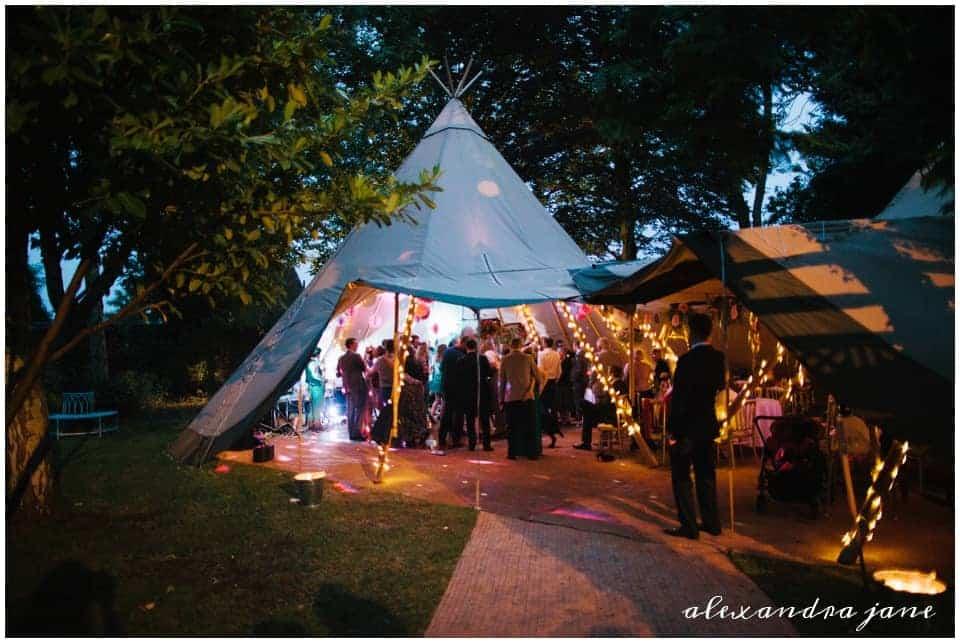 Sami Tipi Entrance By Night Oxford Tipi Wedding by Alexandra Jane