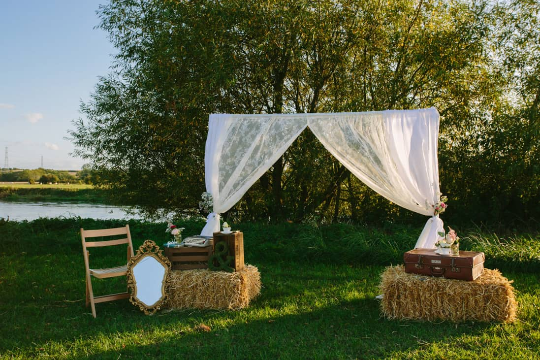 Bales to create an outdoor ceremony - image by yvonne lishman