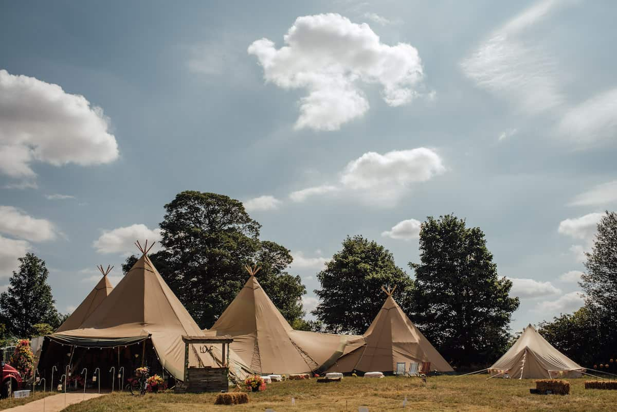 Three giant hat teepees and chill-out tipi