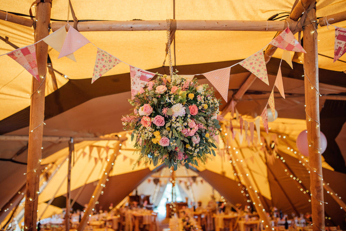 Tipi hanging flowers
