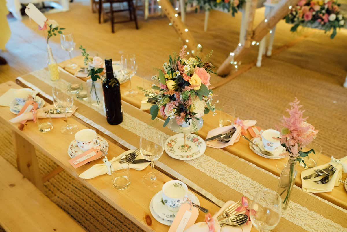 tipi table setting with vintage china