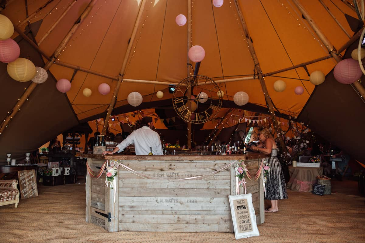 Hexagonal Bar available to hire to compliment your Sami Tipi Wedding