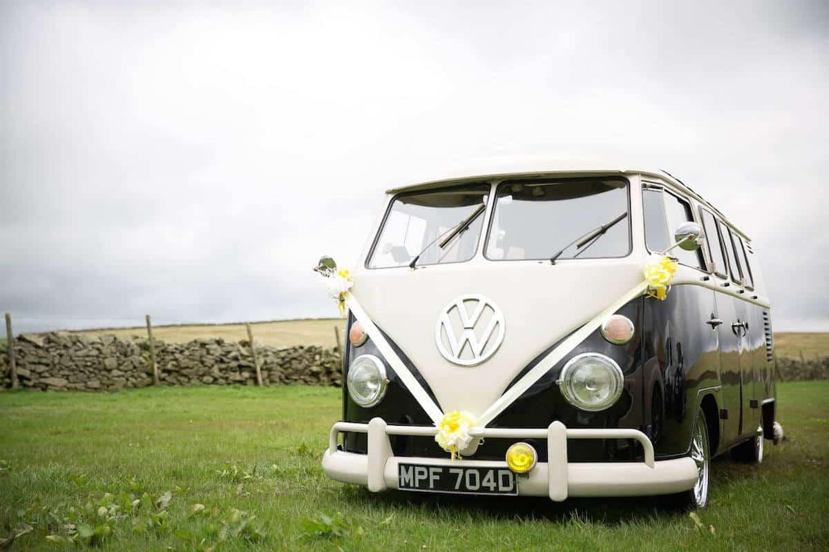 Arriving in Style VW Campervan at Peak District Farm & Sami Tipi Wedding