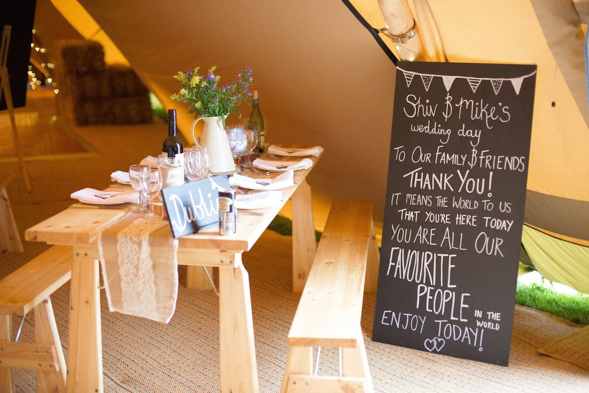 Chalk Board welcome message - sami tipi wedding by Becky Armstrong