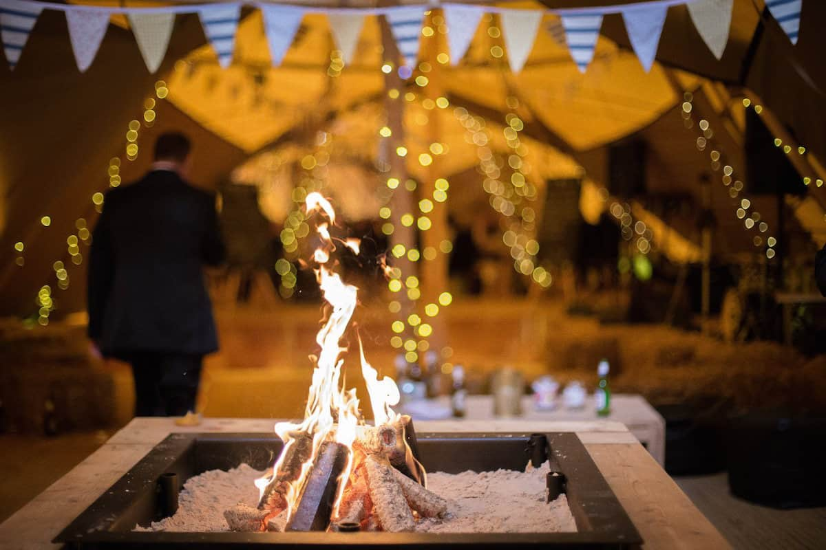 Sami Tipi Open Fire Place at Peak District Farm, Captured by Becky Armstrong