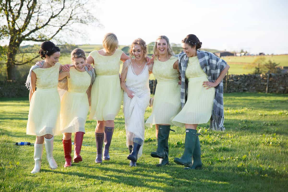 Sami Tipi Farm Wedding with Wellington Boots