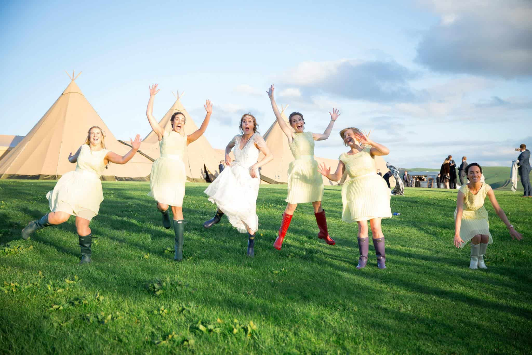 Jumping for joy - mike and siobhans sami tipi wedding