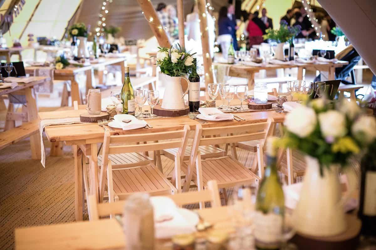 Rustic wedding Setting - Mike and Siobhan at Peak District Farm Weddings