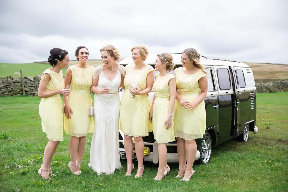 Bridal Party enjoying the VW Van at a Sami Tipi Wedding