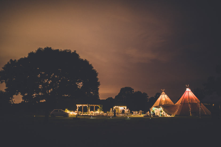 Sami Tipi Wedding at night - captured by Amy Shore Photography