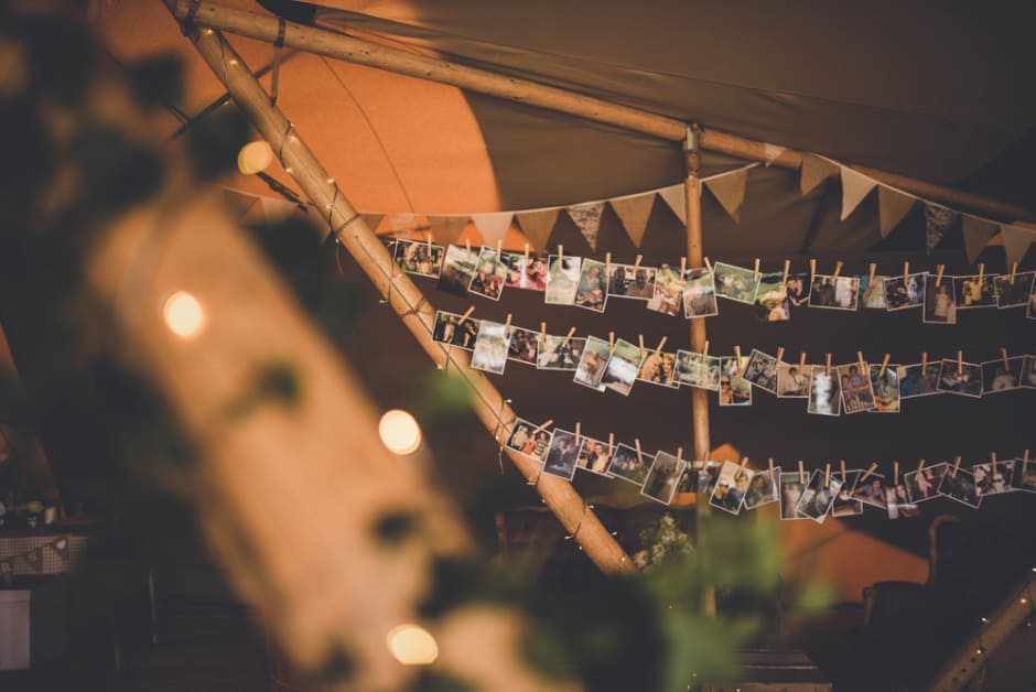 Sami Tipi Wedding picture wall - captured by Amy Shore Photography