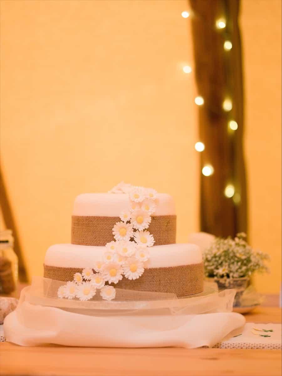 Wedding Cake with pretty daisy details