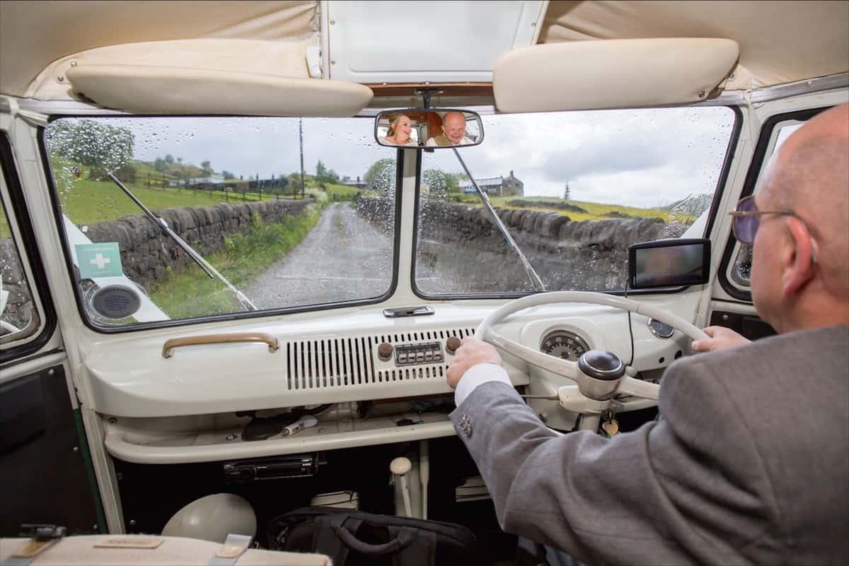 Arriving to your outdoor wedding in a VW Campervan