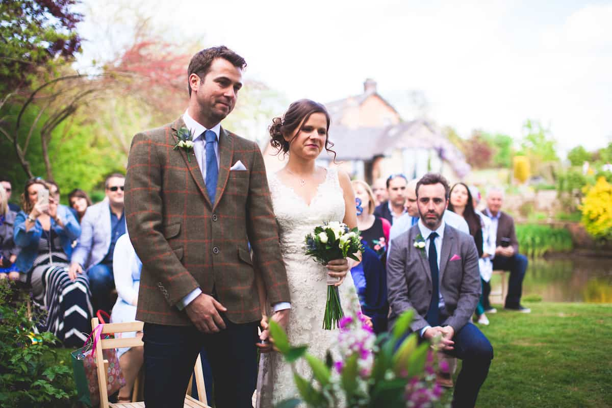 Outdoor wedding ceremony - walking down the aisle