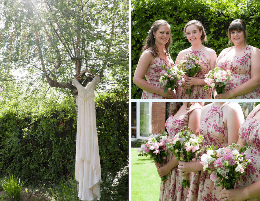 Floral bridesmaid dresses ready for Bodenham Arboretum Tipi Wedding