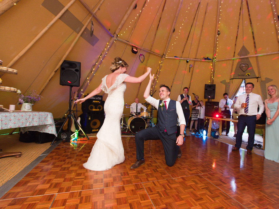 First Dance for bride and groom at their tipi Wedding Celebration