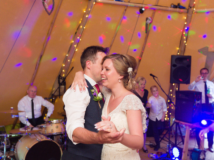 First Dance for bride and her groom at their teepee Wedding Celebration