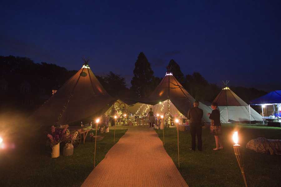 Tipis at Night |Bodenham Arboretum Tipi Wedding Celebration