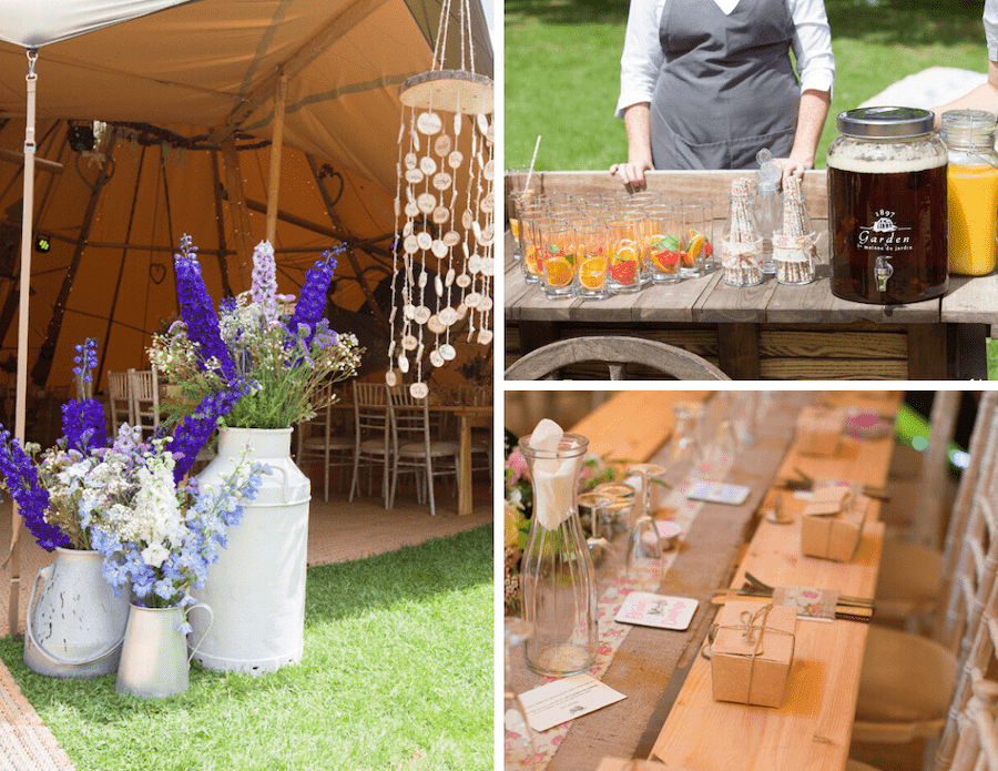 Welcome drinks station for Bodenham Arboretum Teepee Wedding by Sami tipi
