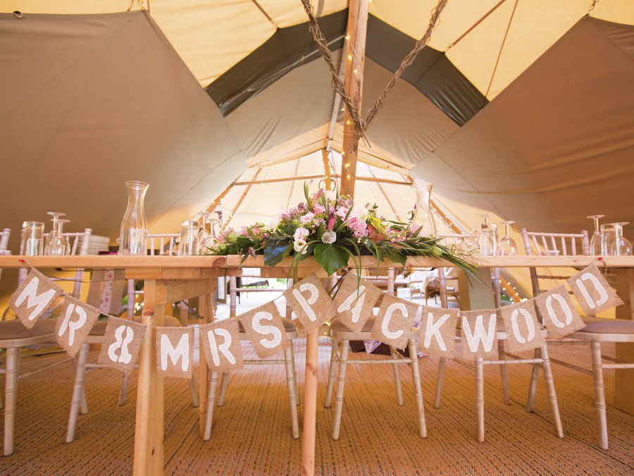 Rustic Mr and Mrs sign for in Bodenham Arboretum Teepee Wedding by Sami tipi