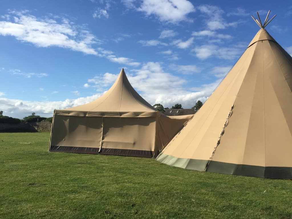 Tipi Catering Annex and Joiner. Made from the same canvas as the tipis.