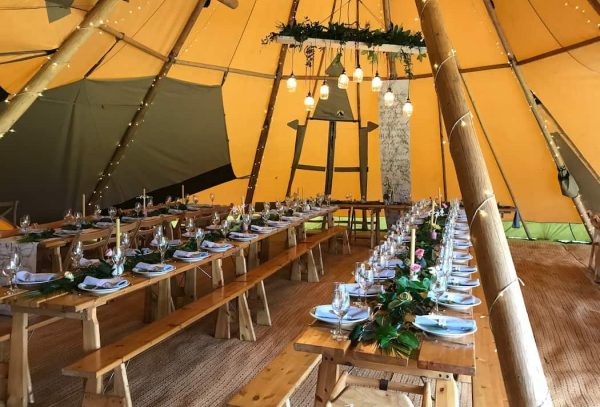 Lighting Shelf with jar lights hangs from the centre point of your tipi adding real WOW to your space and lighting your dining tipi in to the evening