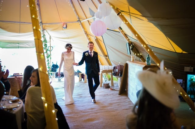 Sami Tipi Wedding at Bawdon Lodge Farm welcome the new mr and mrs