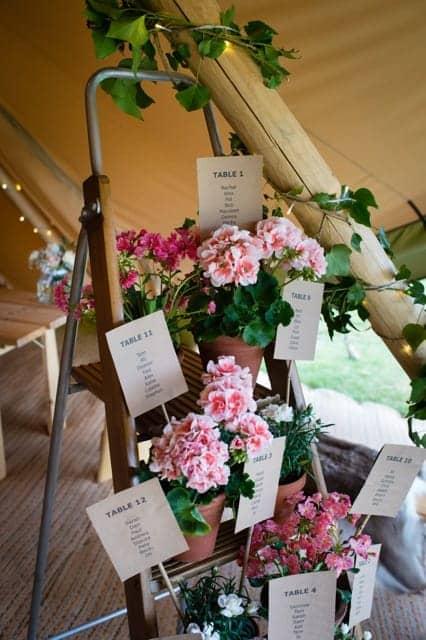 Sami Tipi Wedding diy seating plan with pot plants