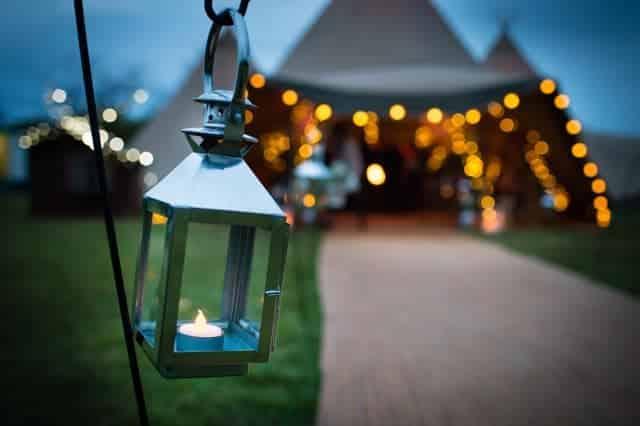 Sami Tipi walkway at dusk - lanterns available to hire from Sami Tipi
