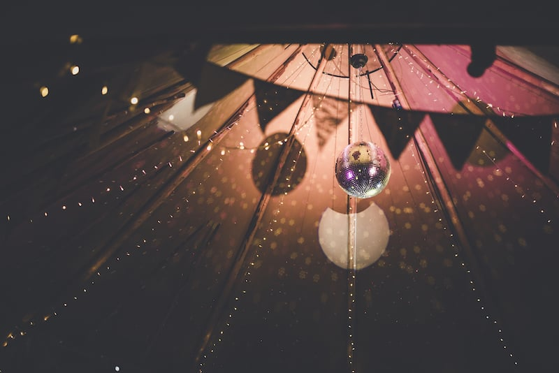 Disco Ball with Spot lights creates an incredible effect at night in your tipi space. Everyone will want to dance the night away under all of this twinkle