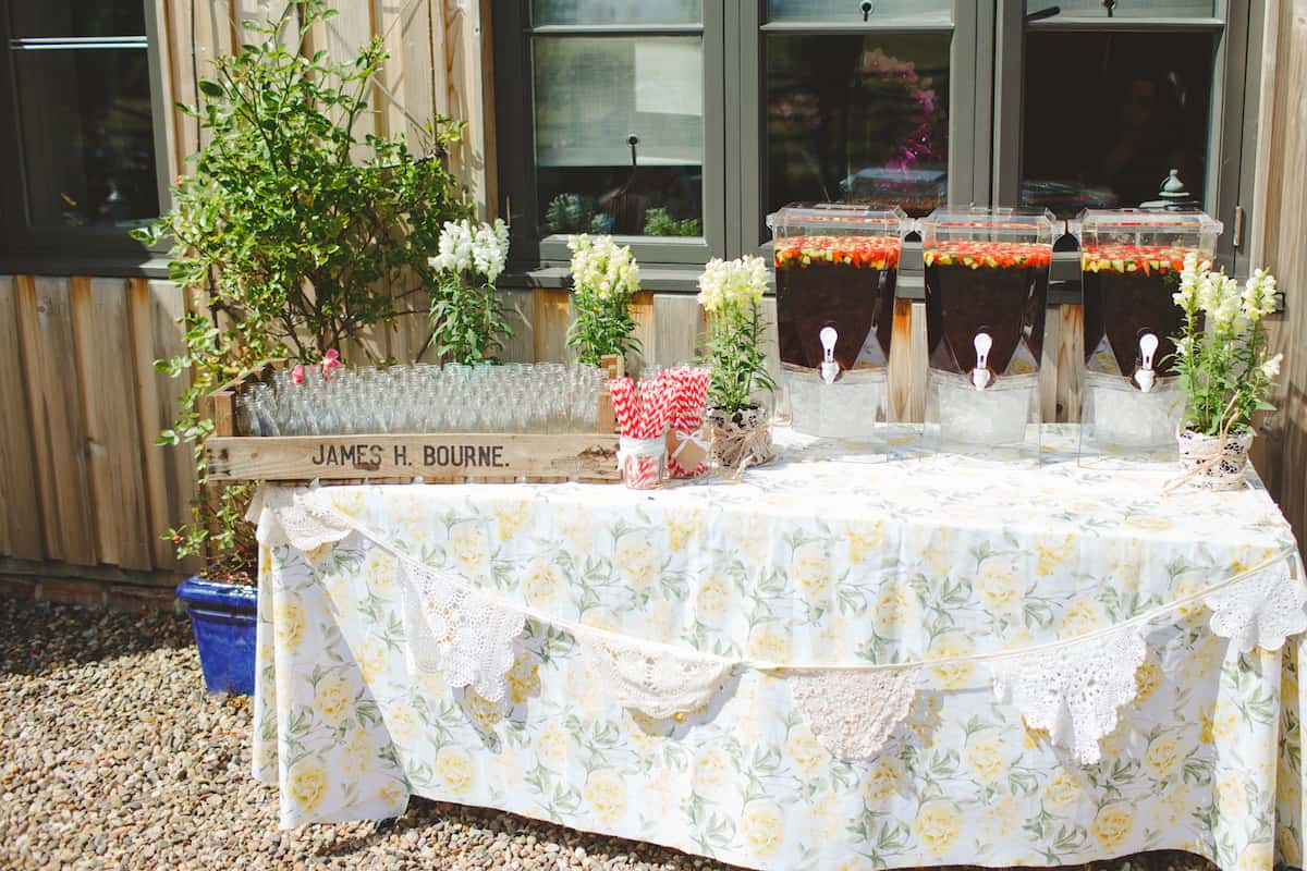Pimms welcome drink station - Sami Tipi Wedding Captured by Camera Hannah