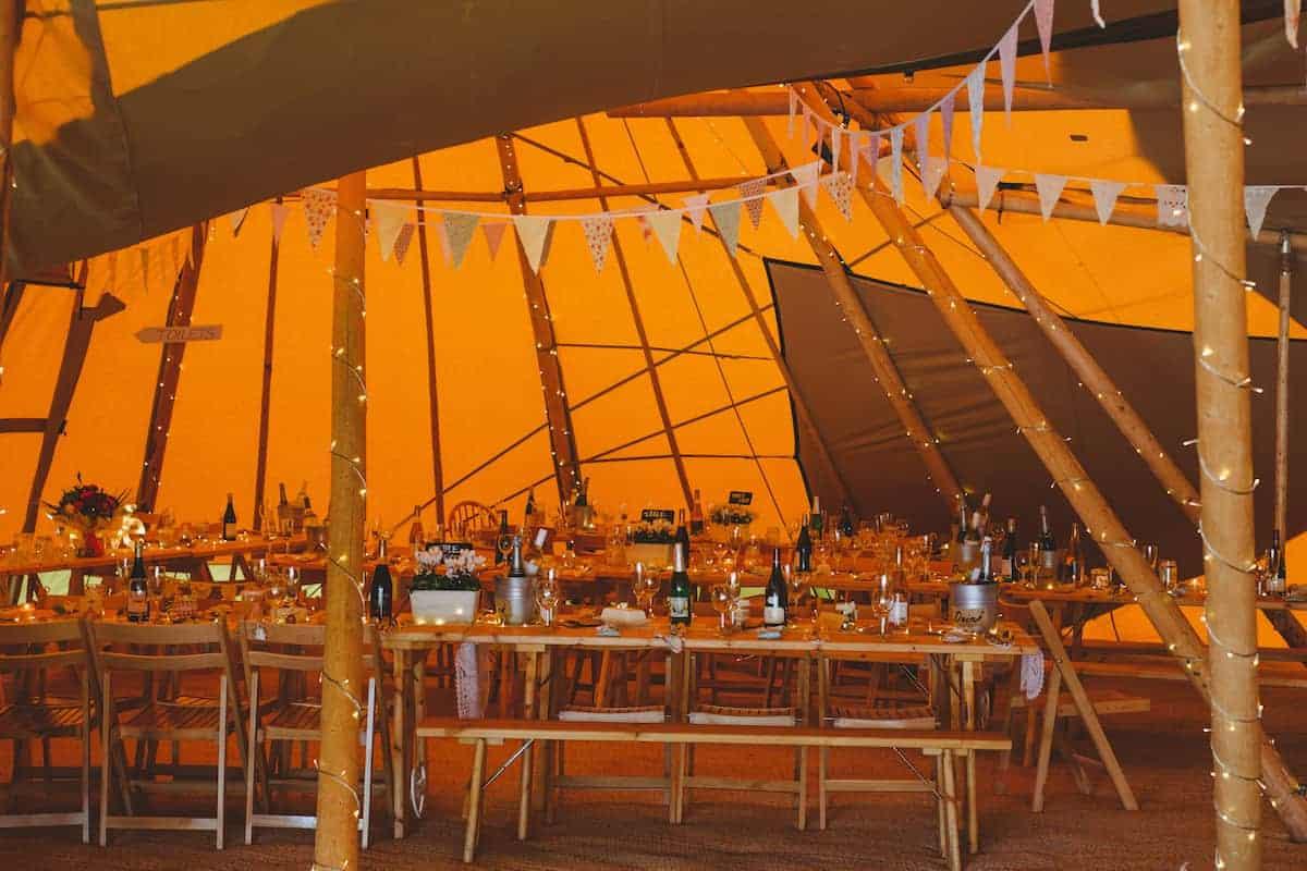 Tipi wedding setup for two brides celebration