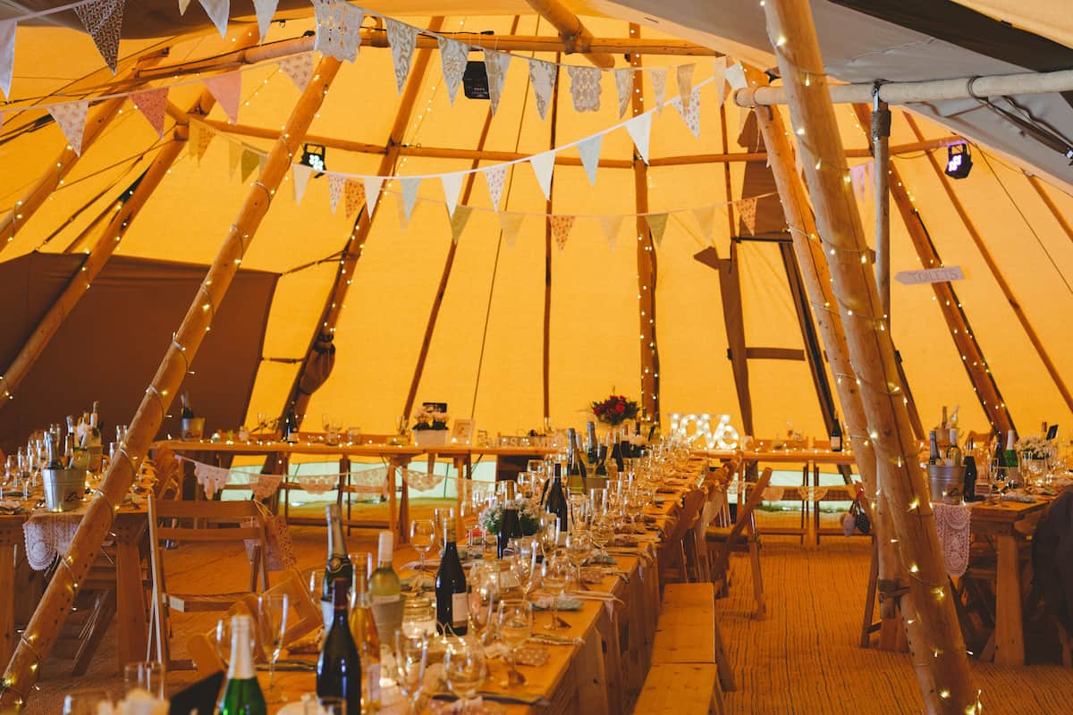 Sami Tipi Wedding setup in three giant hat tipis