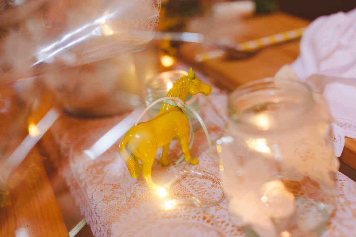 Yellow Horse decoration for team yellow | Two Brides wedding celebration with Sami Tipi
