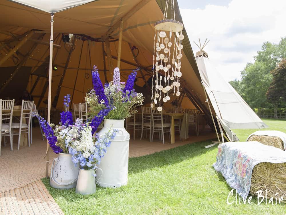 Tipi Entrance Display - Sami Tipi Wedding captured by Clive Blair