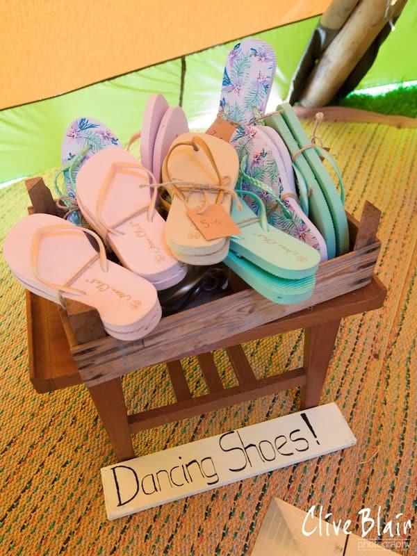 Basket of Dancig Shoes - Sami Tipi Wedding captured by Clive Blair