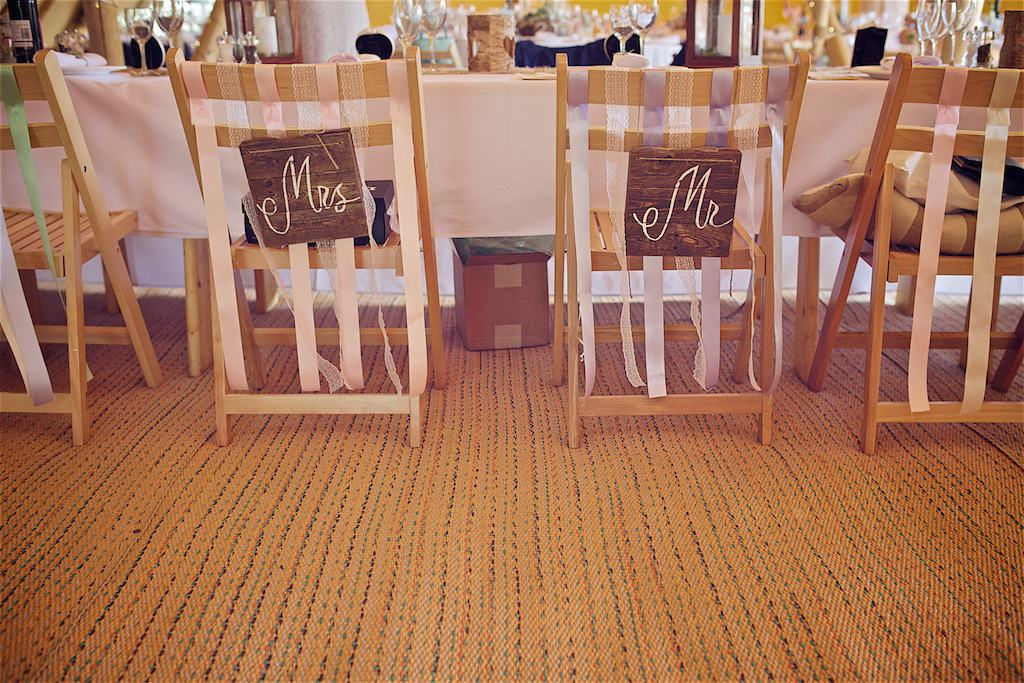 Mr & Mrs chair signs - Sami Tipi Wedding captured by Shoot it Momma