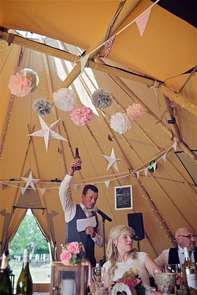 Hanging tipi decorations - Sami Tipi Wedding captured by Shoot it Momma