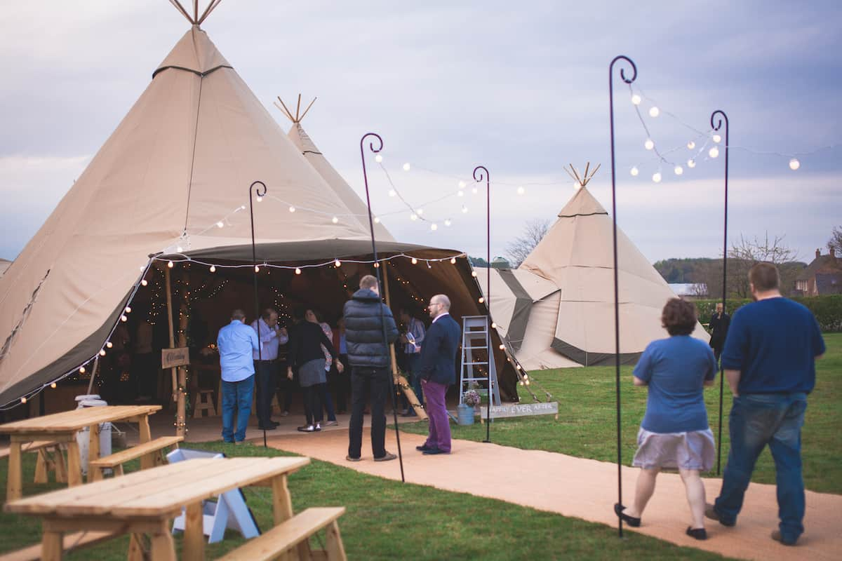 Sami Tipi Entrance with Giant Festoon Lighting - Sami Tipi Starlight Social captured by Christopher Terry