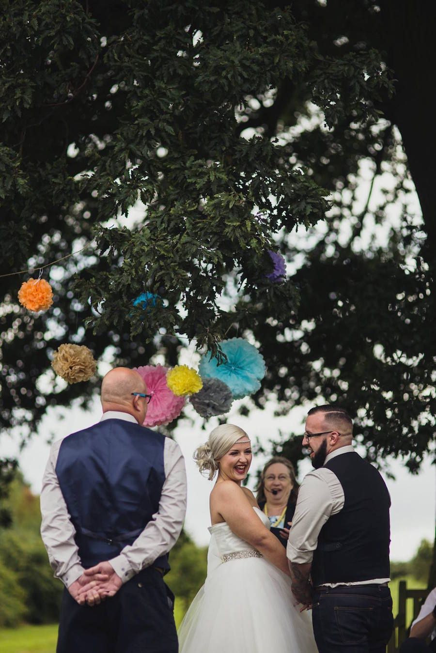 outdoor ceremony under the oak tree at Bawdon Lodge Farm - Sami Tipi Wedding at Bawdon Lodge Farm